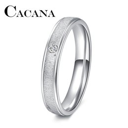 $enCountryForm.capitalKeyWord Australia - whole saleCACANA 1PC Plain Silver Color Stainless Steel Band Ring Engagement Jewelry crystal ring FULL Size 17-21 DROP SHIPPING