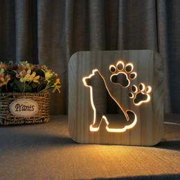 $enCountryForm.capitalKeyWord NZ - Dog LED 3D Light Lamp Wooden Nightlight,USB Power Home Bedroom Table Desk Decoration Lamp Wood 3D Carving Pattern LED NightLight