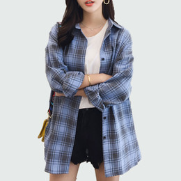$enCountryForm.capitalKeyWord Canada - Women Plaid Shirt 2018 Spring Autumu Long Sleeve Blouse For Girls Korean Top Streetwear Casual Shirt Plus Size Blusas Feminina