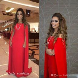 $enCountryForm.capitalKeyWord NZ - Red Evening Dress 2019 New Arrival Elegant Prom Dress Formal Event Gown Plus Size robe de soire cape vestido de festa longo