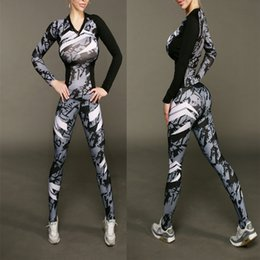 Slimming Spandex Yoga Pants Canada - Women Elastic Sport Print Long Sleeve Tops And Slimming Pants Leggings For Running Yoga Sport set