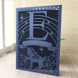 Chinese  35pcs Laser Cut Unique Unicorn Design Wedding Invitation Card Event Party Supplies Romantic Wedding Cards manufacturers
