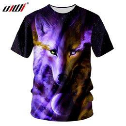 hip hop t shirts big prints 2019 - UJWI Man Hip Hop Streetwear Short Sleeve Tee Shirts Summer Fashion 3d Print Angry Wolf O-neck T-shirts Casual Tshirt Big