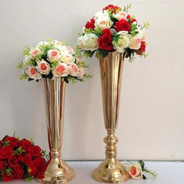 house plates Australia - 2018 Elegant Tall wedding flower vase centerpiece gold metal vase for wedding flower decoration with large mouth shape