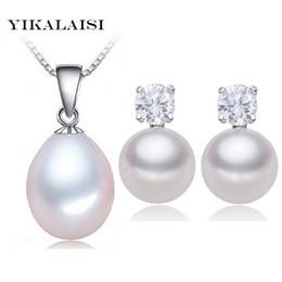 a3f13b2616d7 YIKALAISI 2017 100% natural de agua dulce conjunto de perlas colgante Stud  pendientes 925 joyería de plata esterlina collar de gargantilla para mujeres