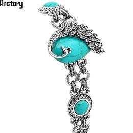 $enCountryForm.capitalKeyWord Australia - Peacock Malachite Shell Bracelet For Women Vintage Antique Silver Plated Fashion Jewelry TB162