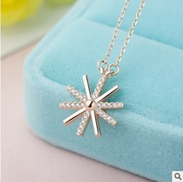 $enCountryForm.capitalKeyWord Australia - 925 Sterling Silver Necklaces Silver Rose Gold Rhinestone Crystal Zircon Sun Flower Cross Necklace Clavicular chain 40+5cm