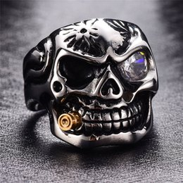 punk rings Australia - Skull Bullet Finger Ring Punk Stainless Steel With Crystal Male Never Fade Punk Horror Retro Jewelr Gold Smoking Pipe Biker Men's Rings