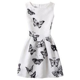 girls butterfly party dress UK - Girl Dress 2017 Fashion Summer Kids Princess Casual Butterfly Print Pattern Party Girls Dress Children Clothes Baby Girl Dresses