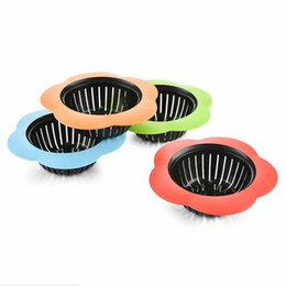 Sink Accessories UK - Silicone Kitchen Sink Strainer Flower Shaped Shower Sink Drains Cover Sink Colander Sewer Hair Filter Kitchen Accessories Wholesale