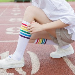 d78b89d91a2 1Pair Women Socks Thigh High Socks Over Knee Rainbow Stripe Girls Black  White Elastic Wear-Resistant Bottom chausette