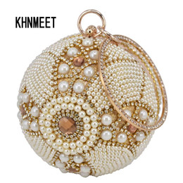 Chinese  Design Gold ball Wristlets Bag Women Silver Beaded Pearl Mini Tote Handbag Chain Lady Wedding Bridal Evening Purse Clutch Bag manufacturers
