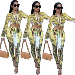 $enCountryForm.capitalKeyWord Canada - Women Luxury Clothing Sets Spring Autumn Yellow White Printed Hot Tracksuits Fashion Outfits Short Shirts Long Pants 2pcs Suits