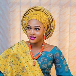 2018 Nouveau design aso oke headtie, jaune African Aso Oke Headtie nigeria pour les Nigérians africains pour les femmes Wedding Party 2 pièce 30