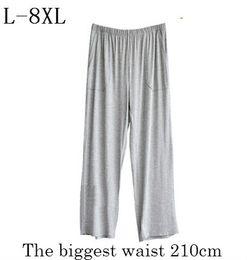 Plus Size L 8XL Pajama Bottoms Pijama Hombre 2018 Summer Autumn Men Loose  High Waist Sleepwear Elastic Soft Modal Lounge Pyjamas 4228b4e44