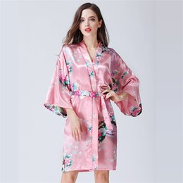 japanese kimono nightgown UK - Pink Dress for Women Japanese Style Kimono Peacock Vintage Flower Elegant Sexy Satin Robe Knee Length Tunic Nightgown SizeM-XL