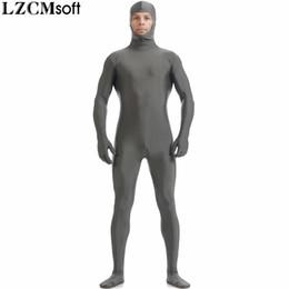 skin suit white 2019 - LZCMsoft Men Spandex Cosplay Zentai Suits Nylon Open Face Full Body Skin Tights Adults Black Zentai Bodysuits Halloween