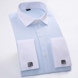 Color Design Dress Shirt Canada - Classical Design French Cufflinks Solid Men Dress Shirts Long Sleeve White Collar Blue Color Regular Fit Party Men Formal Shirts
