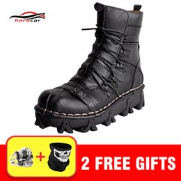 bikers boots UK - New Motorcycle Boots Men Retro Genuine Cow Leather Skull Punk Martin Shoes Motorbike Biker Moto Boots Protective Gear EU 38-49