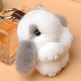 $enCountryForm.capitalKeyWord Australia - Top quality Mink hair mini rabbit pendant car keychain small 8 cm plush rabbit mobile phone bag fur ornaments