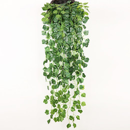 fake vines decoration UK - Hanging Vine Green Wall Fake Leaf Home Garland Decoration Plant 90cm (35 inch length) 5 style for choose