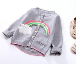 189e8875 Cute Girls Rainbow Cardigans Suéter 2018 Otoño Invierno Ropa de Boutique para  Niños 2-7Y Botón de Niñas Mangas Largas Tops de tejer Prendas de abrigo