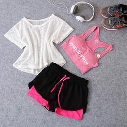 $enCountryForm.capitalKeyWord NZ - News 3 in 1 Running Yoga Suit Sport T-Shirt+Bra+Shorts Female Breathable Gym Jogging Sport Set Summer Quick Dry Girls Yoga Suits
