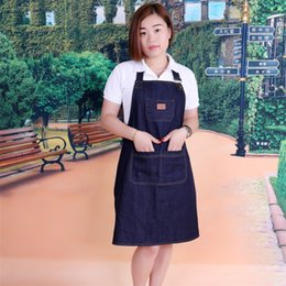 Discount home shop clothing - Thickening Denim Apron Cook Coverall Women Waiter Fashion Coffee Cloth Milk Tea Clothes Shop Work Aprons Heat Proof Home