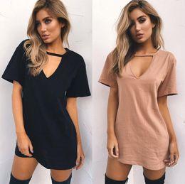 $enCountryForm.capitalKeyWord Canada - Women Tshirt Dress Hanging V-neck Casual Sexy Halter Loose Mini Tee Dress Summer Short Sleeve Black Dresses Vestidos