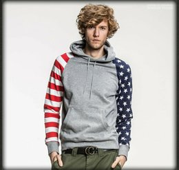 Wholesale Men Oversize Grey Hoodies USA American Flag Stars Striped Pullovers Hooded Sweatshirts Fleece
