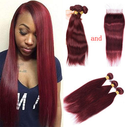 Discount red straight hair extension - Brazilian 99J Human Hair Weave 100% Human Hair Extensions Cheap Silk Straight Wine Red 3 Bundles Burgundy Hair Extension