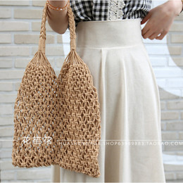 Straw Hands Bag NZ - Factory direct new solid color shoulder bag woven female forest series straw hand cotton rope net bag