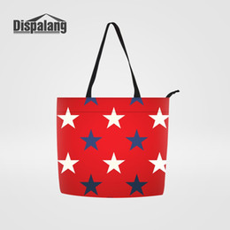 Dispalang Women Large Handbags Personality Customize Stylish Girl Shoulder Shopping  Bags Star Pattern Reusable Canvas Bags Totes 6dbf01b7ace4c