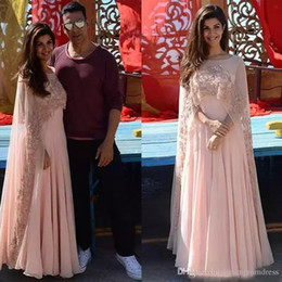 Indian Coral Beads Australia - Pink Formal Evening Dresses With Wrap Indian Arabic Kaftan Lace Appliques Beads Prom Dresses Chiffon Floor Length Zipper Back Party Gowns