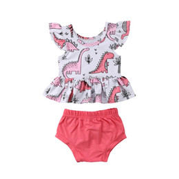 toddler boys tees 2019 - Girls Fly Sleeve Tops Tee Shorts Booms Casual Coon Outfits Clothing 2PCS Toddler Infant New Baby Girl Clothes Sets 6M-4T