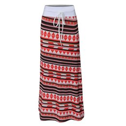China Long Skirts 12 Colors Plus Size Fashion Women High-Quality Print Casual Long Skirt Ladies Slim Elastic Waist S-3XL Balck&white supplier long black skirt elastic waist suppliers