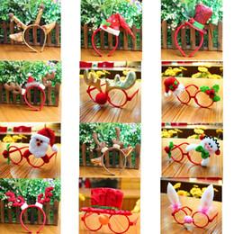 Bored hair online shopping - Christmas Glasses Frame Hair Bows Multi pattern Santa Claus Snowman Deer Bear Decoration Kids Children Gift head buckle GGA803