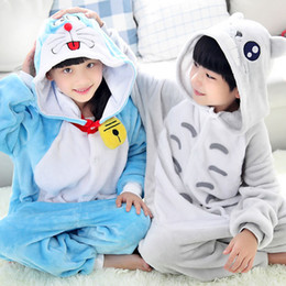 doraemon costumes Canada - Totoro Doraemon Pajamas Children Kids Boys Girls Animal Pajamas Flannel Pajamas Winter Cartoon Animal Onesies Pyjamas