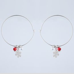 Earring Hoops Balls NZ - Christmas Charming Big Circle Hoop Earrings S925 Christmas Ball Snow Earrings Party Jewelry Trendy Accessories For Women