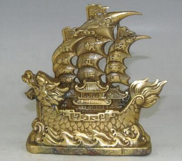 $enCountryForm.capitalKeyWord NZ - China Brass Old Copper Plain Sailing Dragon Boat Ship Barque Sailing Ship Statue metal handicraft