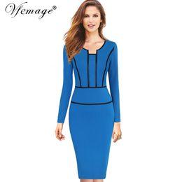 Vfemage Womens Autumn Long Sleeves Elegant Vintage Slim Wear To Work Office  Business Casual Sheath Bodycon Pencil Dress 7476 Y1891305 0130beebe063