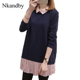 561de6afe885e5 Nkandby Plus size Lady Tops 2018 Autumn Woman Loose Peter pan Collar Blouse  Pleated Chiffon Patchwork XL-5XL Large Long Shirts