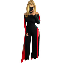 China Women's Sexy Off Shoulder Split High Waist Side Stripe Wide Leg Pant Romper Jumpsuit Bodycon Party Club Female Overalls cheap party high waist pants suppliers