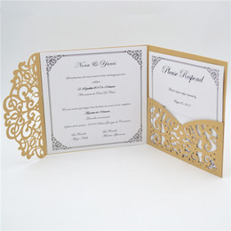 $enCountryForm.capitalKeyWord Canada - 2018 Tri-folded Light Brown Hot Sale Romantic Pocket Laser Cut Wedding Invitations Luxury Cards Cheap Chinese Personalised Handmade Envelope