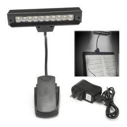 Lamp Night Stand UK - Portable 10 LED Bulbs USB Rechargeable Reading Book Light Flexible Lamps Clip-on Orchestra Piano Music Stand Table Night Lights