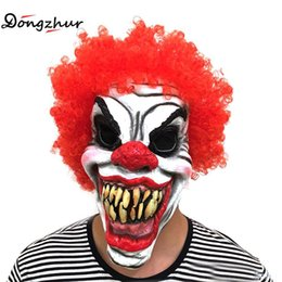 Full Face Clown Mask Australia - Halloween Funny Mask Scary Clown Latex Full Face Mask Mouth Red Hair Nose Cosplay Horror Masquerade Party Mask Ghost Funny Toys