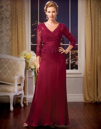$enCountryForm.capitalKeyWord Australia - Elegant A-Line Formal Evening Gowns V Neck Red Lace Mother of The Bride Dresses Wedding Party Dresses Vestido De Noche Largos
