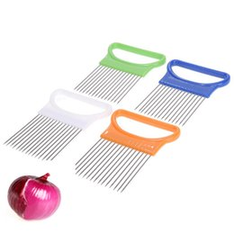 tomato slicer cutter NZ - Onion Slicer For Slicing Vegetable Cutter Multifunctional Cutting Aid Guid Onion Tomato Holder Stainless Steel Kitchen Tools