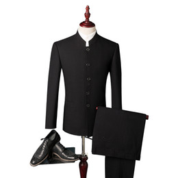 Wholesale traditional chinese men s suits resale online - Men Stand collar Formal Business Suits Pants Chinese Tunic Suits Black New Arrival Traditional Mandarin Jacket Pants S XL