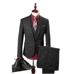 Satin Pant Suit NZ - (Jacket+Vest+Pants) Men's suits 2017 British style Men's fashion Single button wool suit Men high quality wool wedding suits groom tuxedo